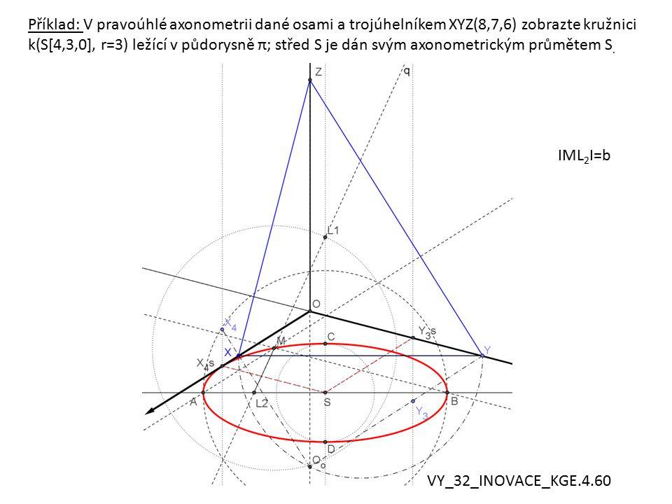 Příklad: V pravoúhlé axonometrii dané osami a trojúhelníkem XYZ(8,7,6) zobrazte kružnici k(S[4,3,0], r=3) ležící v půdorysně π; střed S je dán svým axonometrickým průmětem S.